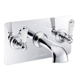 St James London Lever 3-Hole Wall Mounted Bath Filler Tap & Concealing Plate (white) - SJ376-LL